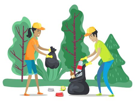 People picking organic, glass and plastic trash in garbage bag. Volunteers collecting and sorting trash in forest. Man and woman cleaning, helping environment. Vector illustration in flat style