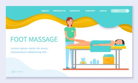 Foot massage from professional woman masseur for patient lying with towel on table. Smiling female massaging by hands ladies legs. Website or webpage template, landing page flat style vector
