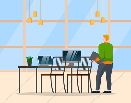 Man stand near table with documents in hands. Guy alone in cabinet at office. Computer and laptop for work on desk. Room interior with plant, lamps and window. Vector illustration of workplace in flat Illusztráció