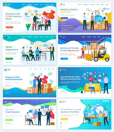 Us and china trade relations, search niche and supplier. Set of website or webpage template. People ordering products from Asian country and distribute abroad. Vector landing page flat style.