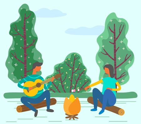 Couple spending romantic weekends in forest or park. Boyfriend playing guitar and girlfriend frying marshmallow on stick. People sitting on log surrounded by greenery nature. Vector in flat style