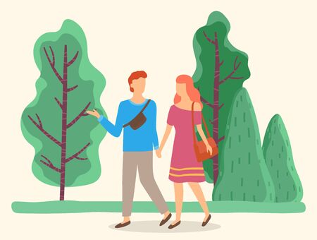 People on weekends walking in park. Summer vacations of boyfriend and girlfriend, couple holding hands strolling in forest. Female wearing light dress and male with bag. Vector in flat style Vektorgrafik