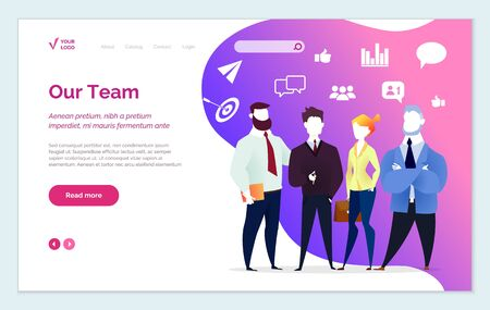 Our team, people working in organization presentation of staff. Characters dealing with business tasks and problems. Man and woman with icons behind. Website or webpage template, landing page vector Illustration