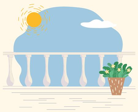 Fair weather in spring or summer. Balcony or terrace with plant in pot, blooming flower with foliage. Sunshine and cloud at sky. Outside nature beauty and lightness outdoors vector in flat style