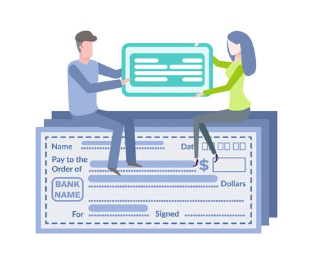 Empty financial account, electronic form filling template. Sitting man and woman holding online payment card, blue blank, pay and order, dollars vector Vectores