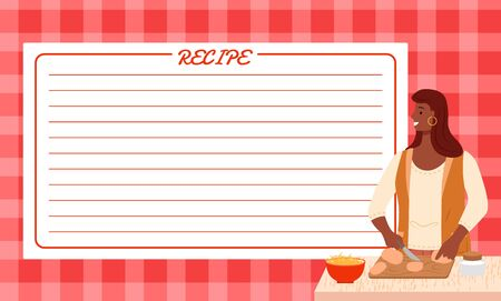 Cookbook page for recipe ideas writing down. Female character cooking dishes. Copy space for making own notes. Girl preparing breakfast or lunch, cutting bread on wooden board. Vector in flat