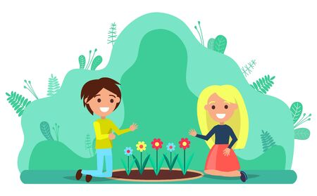 Couple of young people kneeling on lawn planting flowers. Man and woman working in garden together. Horticulture and floriculture, garden tillage vector