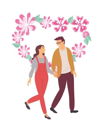 Romantic evening of couple in love vector, people enjoying company of each other, man and woman loving boyfriend and girlfriend with floral heart 向量圖像