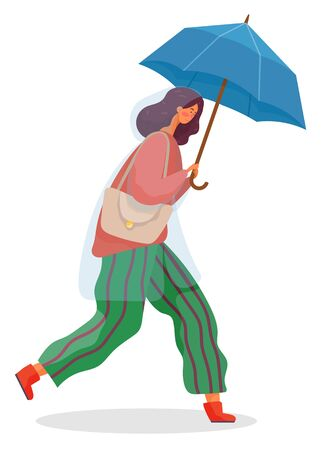 Young woman walking under rain. Person dressed in pants and cardigan and waterproof cloth like raincoat. Lady hold umbrella in hand. Rainy weather in autumn. Vector illustration in flat style