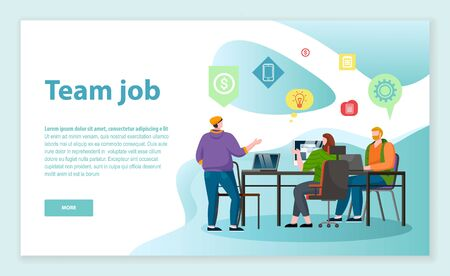 Teamwork at office room, people discussing about project and sharing ideas. Men and woman talk with each other, brainstorming. Designed website about working in team. Vector illustration in flat style