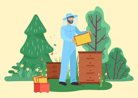 Beekeeper man farming bees near green trees in countryside. Smiling person in special suit collecting honey in garden summer time. Male holding honeycomb symbol standing near hive wooden box vector