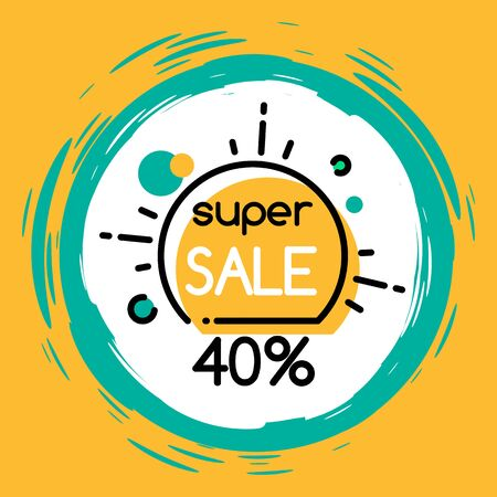 Promo banner with 40 percent off clearance. Sale and discounts for shoppers. proposition from shop or store at market. Label for website to sell stuff online. Sellout on cheap cost vector in flat