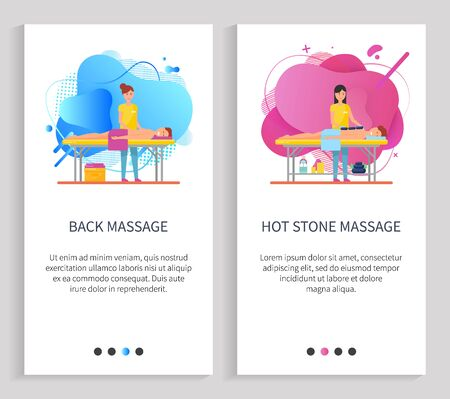 Facial massage vector, hot stone technique using natural components and lotions, creams and oils, body treatment, specialist masseuse clients. Website or slider app, landing page flat style Illustration