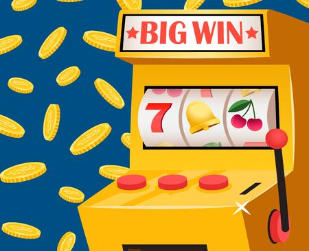 Game machine with board big win, 3d view of gambling equipment with controller, buttons and coins. Icons 7, bell and cherry, casino entertainment vector