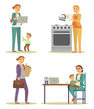 Multitasking businesswoman working, housekeeping and taking care of child vector. Pregnant woman work at laptop, cooking and buying groceries. Feeding little child and making report illustration