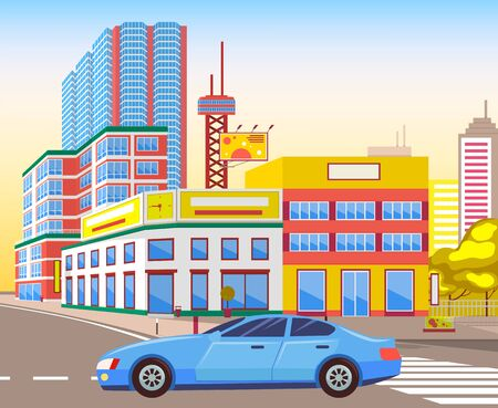 Car riding on city road vector, realistic cityscape with houses and towers. Skyscrapers and billboards for advertisement, vehicle on street transport  イラスト・ベクター素材