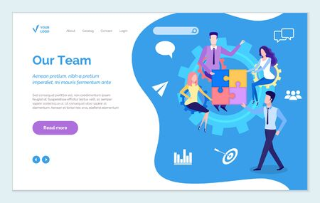 Our team get best service online. Teamwork man and woman characters for business success. Colleagues male and female work together. Website or webpage template, landing page flat style vector Ilustração