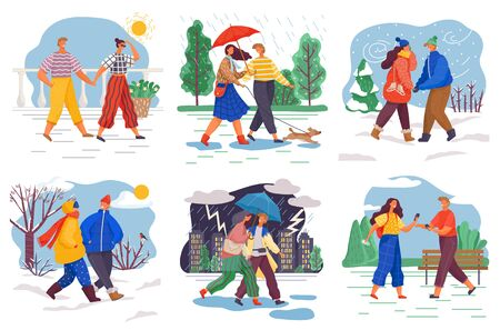 Collection of people wearing seasonal clothes walking in park, forest or city. Female and male character on date. Set of personages in winter and summer, spring and autumn. Vector in flat style