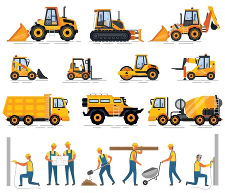 Construction equipment and people working on building vector. Workmen wearing uniforms, tractor and van, bulldozer and cement mixer, engineers with plan. Special machines for building work