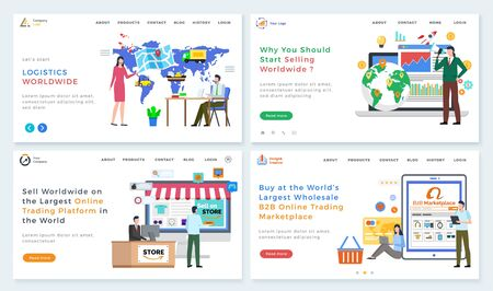 B2B marketplace and online trading platform vector, worldwide logistics and business with partners international companies. People with map cargo. Website or webpage template, landing page flat style Vektoros illusztráció