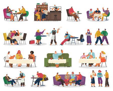 Kaffeehaus oder Café, Essen gehen, Kundentische oder Barthekenvektor. Paar beim Date, Geschäftsessen, Abendessen oder Kaffeepause, Treffen mit Freunden. Kellner nimmt Bestellung auf und Barista im Kaffeehaus Vektorgrafik