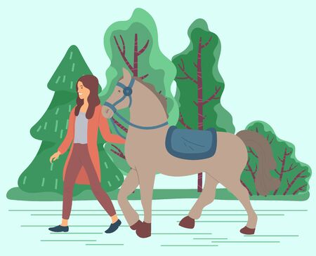 Woman lead domestic animal in forest or lawn. Horse owner hold bridle in hand. Strong stallion with saddle and curb. Village or countryside nature with green trees. Vector illustration in flat style