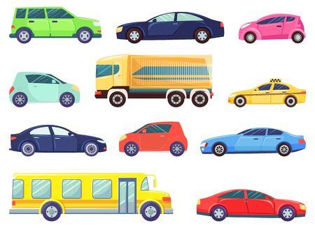 Vecteur de véhicules, ensemble isolé de transport. Transport en commun par autobus scolaire et service de taxi. Illustration de connexion rétro de mini-fourgonnette écologique de voiture électrique dans un style plat pour le web, l'impression
