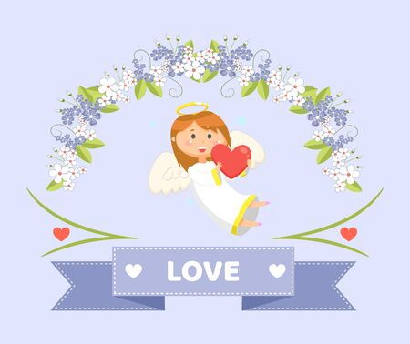 Valentines day greeting, angel with heart and flowers vector. Cupid with wings and halo in white dress, plant blossom, heaven matchmaker, winter holiday