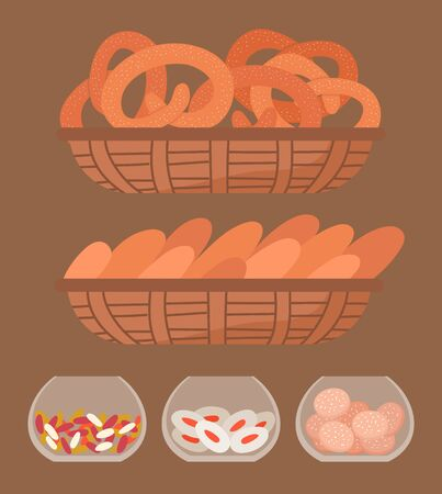 Set of different confectionery in bakeshop. Cookies, bread and candies on rack in market or bakery. Delicious pastry, tasty pretzels and baguette. Vector illustration of bakehouse in flat style Vettoriali