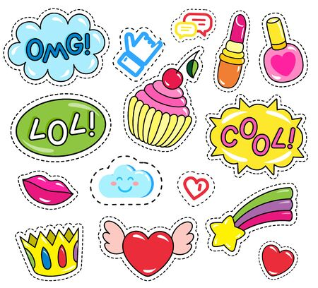 Collection of patches, set of isolated stickers. Inscriptions and images. Crown and nail polish. Omg and lol icons. Heart with rainbow and falling star, sweet cupcake with cream, vector in flat