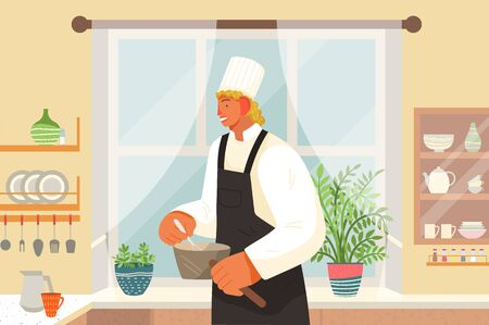 Restaurant kitchen, eating out, chef or cook with saucepans vector. Cafe staff, culinary and cooking, man mixing soup or sauce, order preparing. Profession or occupation, guy in uniform illustration