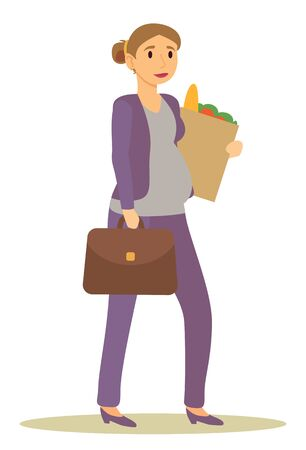 Future mom returning from work carrying products bought at groceries store. Pregnant businesswoman with briefcase and food in package. Isolated awaiting mother with suitcase, vector in flat style Ilustrace