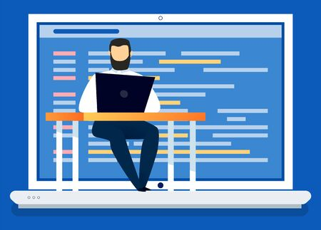 Male character working on new website development. Man with laptop programming, making new application or page. Coder with personal computer sitting by table concentrated on work, vector in flat Ilustrace