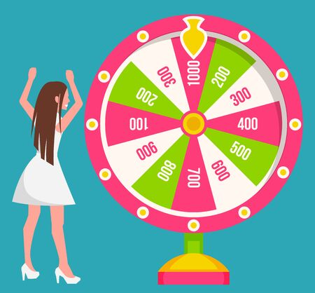 Woman, gambler spins large round wheel. Lady stand near fortune wheel. Gamble game of chance and luck. Pointer on top shows winner number. Vector illustration of casino in vegas in flat style