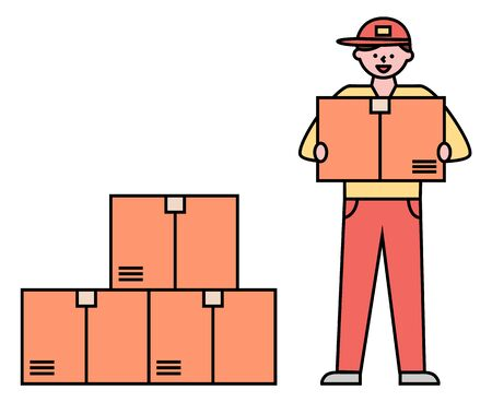 Warehouse with set of carton boxes with orders of clients of shop. Courier delivery and shipment of items in containers. Person with cargo working in logistics. Line art characters, vector in flat  イラスト・ベクター素材