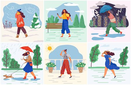 Girl and weather conditions, woman wearing seasonal clothes vector. Female character walking on street in rain or snowfall, summer heat or windy day. Changing seasons and fashion, outfits illustration
