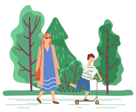 Mom walking by kid on scooter. Family spending free time in park. Natural landscape with trees and greenery of spring. Mother and son on vacations or weekends outdoors. Child with mommy vector 일러스트