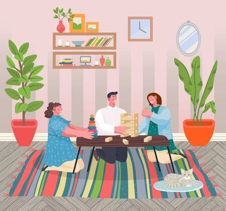 Children having fun playing table games in living room. Youth laughing enjoying. People sitting on carpet, holidays or weekends leisure of teenagers. Woman and man at home, vector in flat Ilustracja
