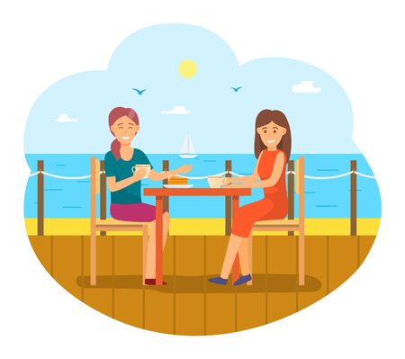 Female character eating food in pier by seaside. Friends in cafe or restaurant by ocean or sea. Luxurious dinner for women to relax. Ladies smiling and talking on lunch. People on vacation vector