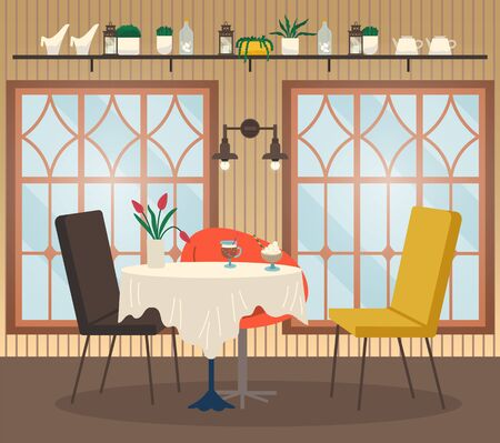 Restaurant interior view table with glass of coffee and dessert, flower decor and empty chairs near big windows and lamp. Cafeteria nobody place with drink and sweet near shelf with cutlery vector Illusztráció
