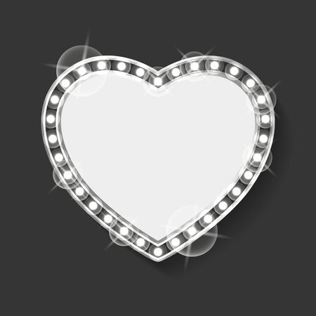 Frame in shape of heart vector, empty banner with blank space and silver bulbs. Grey lights and sparkling on borders, vintage decor romantic style