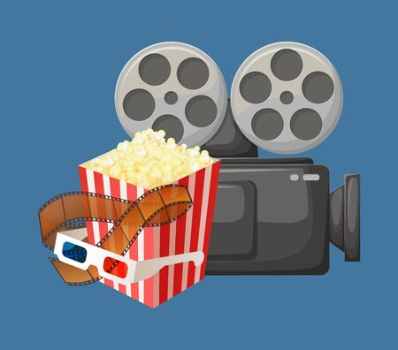 Cinema industry elements vector, package of popcorn with glasses for 3d movies, camera old fashioned device for making movies and filming scripts