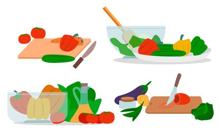 Collection of veggies dishes preparation, isolated set of icons. Cutting board with knife, glass bowl with mixing spoon. Bell pepper and olive oil, tomato and aubergine, onion and cucumber vector