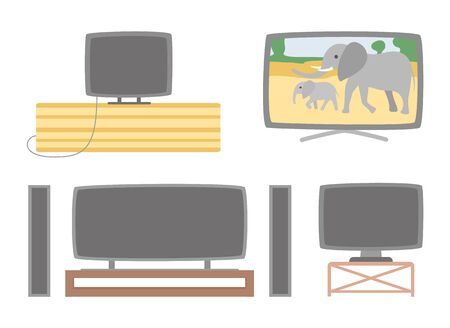 Acoustic system and tv set vector, isolated screens with show program showing elephants and wild nature on monitor. Pastime and leisure, television Ilustração