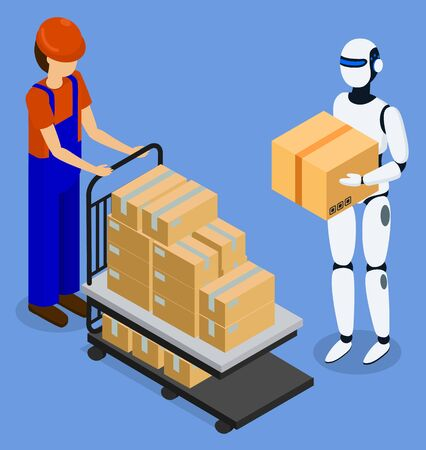Warehouse worker use robot for loading and unloading packages. Modern robotic guy lift and move carton boxes. Technologies and innovations. Vector illustration of future transportation in flat style
