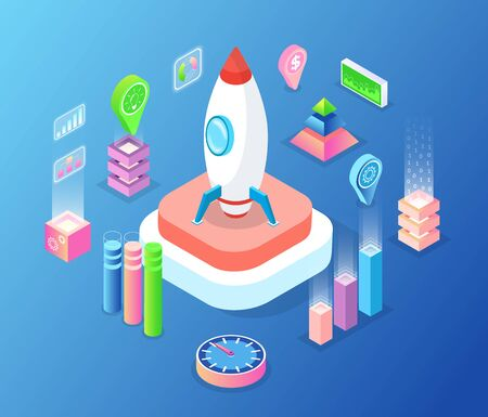 Startup of new business vector, isolated rocket spaceship with location pointer and pedestal, innovative project, launching of spacecraft isometric style 向量圖像