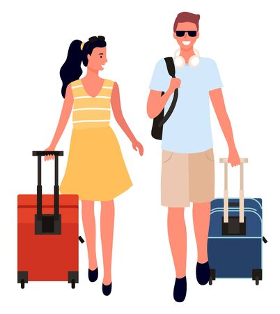 Couple with bags traveling in different destinations vector, isolated man and woman carrying luggage. Flights and travels, journey wanderlust person