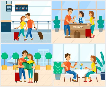 Couple having vacation vector, man and woman with luggage in airport. Hotel reception, pair looking at map, eating in restaurant and having fun flat style Ilustração