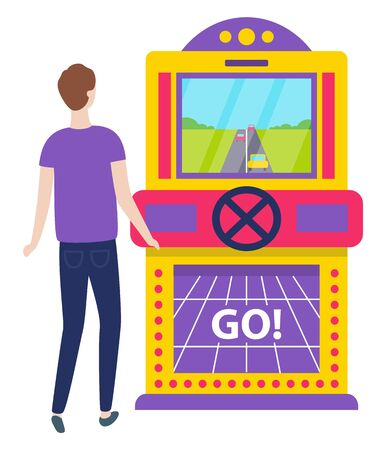 Game machine vector, car race isolated character playing. Start of racing bets and winning money. Lucky personage wearing casual shirt and trousers