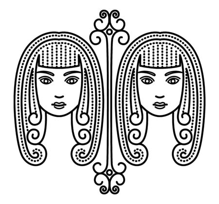 Third astrological sign, gemini associated with constellation. Zodiac represented by twins. Contour drawing of two beautiful women on white background. Vector illustration of asterism in flat style Illustration